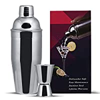 GWHOLE 3 pcs Cocktail Shaker Set 750 ml with Built-in Strainer, a Free Double Measurer ...