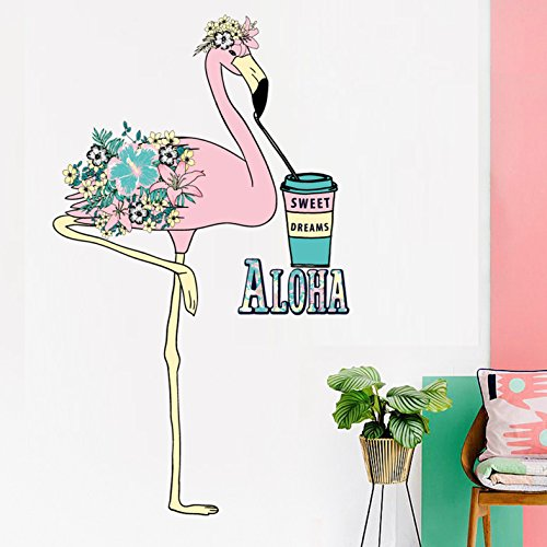 Cartoon Flamingo Selbstklebende Papier Kinderzimmer Kindergarten Dress Up Wandaufkleber 80 * 105 Cm