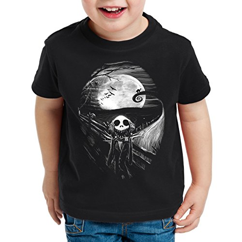 (style3 Munch Nightmare T-Shirt für Kinder Jack Skellington schrei Christmas Before Weihnachten Edward, Größe:104)