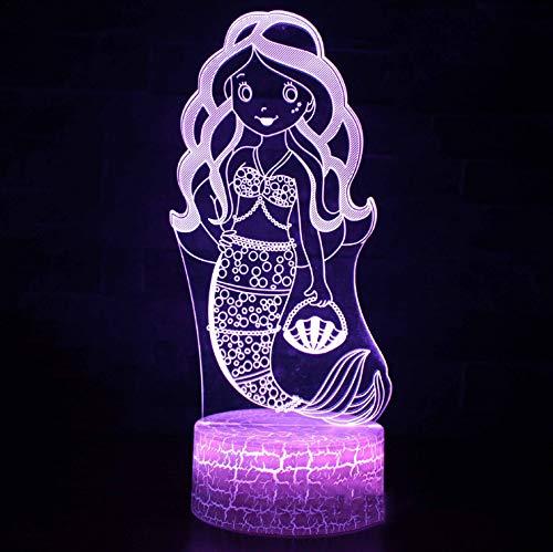 licht 3D optische Täuschung Lampe Kreative Led Neuheit Touch Cartoon Tisch Neuheit Usb Kleine Meerjungfrau Kinder Schlafen Visuelle Beleuchtung Geschenke ()