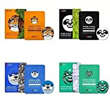 [SNP Cosmetic] Animal Tiger Wrinkle Mask 1ea + Animal Panda Whitening Mask 1ea + Animal Otter Aqua Mask 1ea + Animal Dragon Soothing Mask 1ea;Premium Facial Care Coconut Water Mask / Contains 750mg of coconut water, a mixture of 50% natural c...