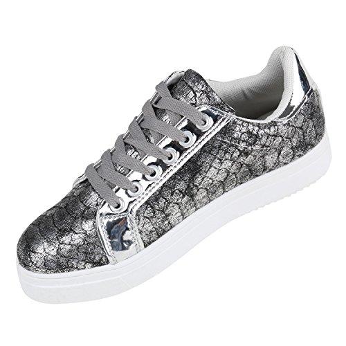 Moderne Damen Sneakers Lack Zipper Sportschuhe Freizeit Schuhe Grau Silber Weiss