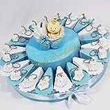 torta bomboniera battesimo trenino portachiavi per bimbo bomboniere economiche SB (Torta da 35 fette + centrale)