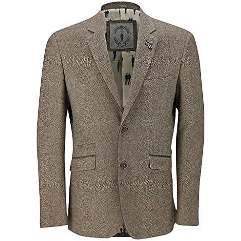 Da uomo marrone Vintage, in misto lana Tweed appendiabiti design Smart Slim Fit Blazer Giacca