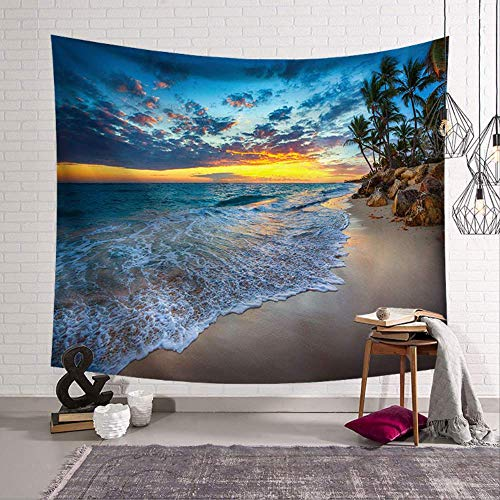 HCYHU Cammitever Blue Sky White Cloud Sea Beach Coconut Tapestry Wall Hanging Scenic Tapestries Bedverbreitung Picknick-bettlaken Decke 100cm*150cm -
