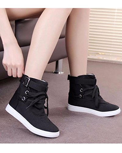 Minetom Femme Hiver Toile Neige Cheville Flat Boots Lace Up High Top Chaussures Noir