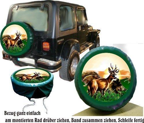 Bezug Reserverad Abdeckung Wildmotiv mit Wildschwein und Reh für Jagd - Fans für Ihren Jeep (Jeep Reserverad Abdeckung Jagd)