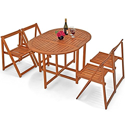 Wooden Garden Furniture Set Patio Balcony 4 Seater Outdoor Living Dining Table and Chairs Set - Folding Sitting Area