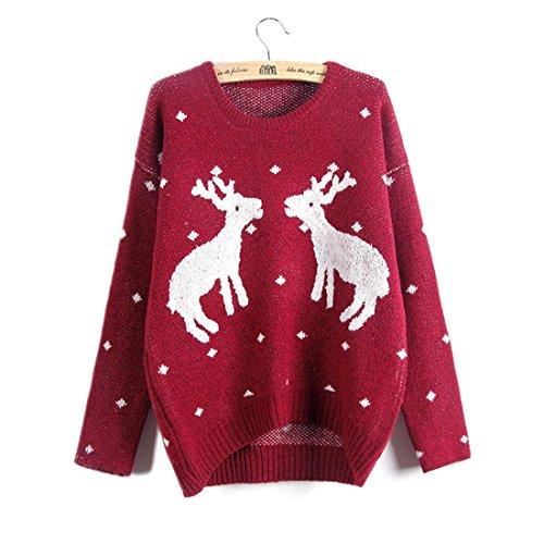 Frauen-Weihnachts-Rentier-Anzug Pullover Frauen zwei kleine Hirsche gestickte Pullover Jacke , red , m