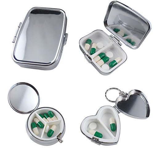 Q3 1PC Pillbox Medicine Container Key Chain Tablet Storage Case Round Rectangle Heart Medicine Container For Pill Storage Holder - Chain-container
