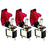 Gebildet 3 pièces Interrupteur à Bascule DC12V 20A, avec Capuchon étanche + LED Rouge, SPST Métal Interrupteur à Levier, on/Off 2 Positions 3 Broches, Utilisé pour la Voiture Auto Camion Bateau