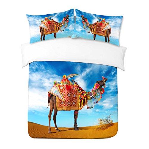 Adam Home 3D Digital Printing Bett Leinen Bettwäsche-Set Bettbezug + 2x Kissenbezug - Camel In Desert (Alle Größen) (Bettwäsche-set Desert)