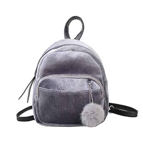 VJGOAL Damen Rucksack, Frauen Mädchen Mode Mini Plüsch Ball Samt Schulter Solide Schule Reise Schultaschen Frau geschenk (19 * 8 * 21cm, Grau)