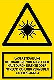 Warnschild aus Kunststoff - Laserstrahlung Bestrahlung von Auge oder Haut durch direkte oder Streustrahlung vermeiden Laser Klasse 4 -- 20 x 30 cm