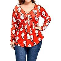 Luckycat Mujer Tallas Grandes O-Cuello Muñeco de Nieve de Navidad Fruncido Tallas Grandes Camiseta Blusa