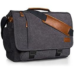 """Estarer Sacoche Ordinateur Portable 17-17,3"""" en Toile Sac Bandoulière Homme Rétro Anti-Chocs et Multi-Fonctionnel pour Travail (Boucle)"""