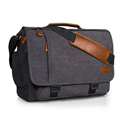 Estarer 15.6inch Laptop Messenger Bag, Water Resistant Canvas
