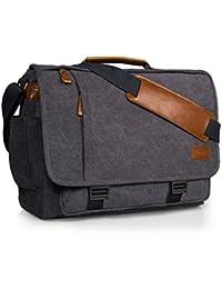 Estarer 15.6-17.3 Inch Laptop Messenger Bag for Work School,Mens Water Resistant Canvas Crossbody Shoulder Bag