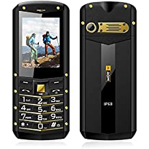 Móviles Libres Impermeables, HAMSWAN Teléfono Móviles Sumergibles IP68 Antipolvo Antiagua y Antigolpe Con Pantalla 2.4 Pulgadas, GSM 2g, Teclado Grande y linterna
