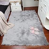 lililili Weichen Faux schaffell Fell Stuhl Couch Decken Bereich Teppich für Schlafzimmer Sofa Wohnzimmer erdgeschoss Matte-hellgrau 60x90cm(24x35inch)