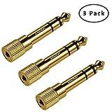 TriLink Adattatore per Cuffie [Rame Placcato Oro] da Jack 6.35mm maschio a Jack 3.5mm femmina Stereo Audio (3 pezzi), colore ORO