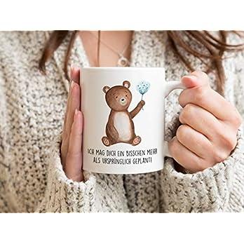 Bedruckte Tasse mit Bär und Spruch Ich mag dich ein bisschen mehr als ursprünglich geplant