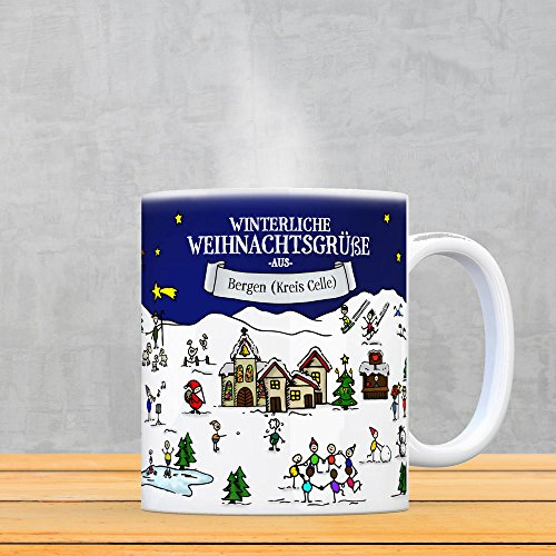 Bergen (Kreis Celle) Weihnachten Kaffeebecher mit winterlichen Weihnachtsgrüßen - Tasse, Weihnachtsmarkt, Weihnachten, Rentier, Geschenkidee, Geschenk - 3
