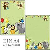 Schreibblock bunte Tierwelt Format DIN A4 mit Deckblatt 7330 (1 Briefblock)
