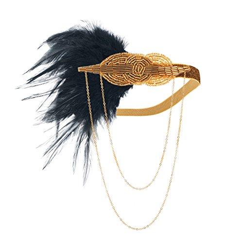LONGBLE 1920S Feder Stirnband Perlen 20er Jahre Stirnbänder Kopfschmuck Damen Haarband Schwarz Great Gatsby Restro-Stil Kostüm Accessoires Elegant Party Tanzabend Geschenk