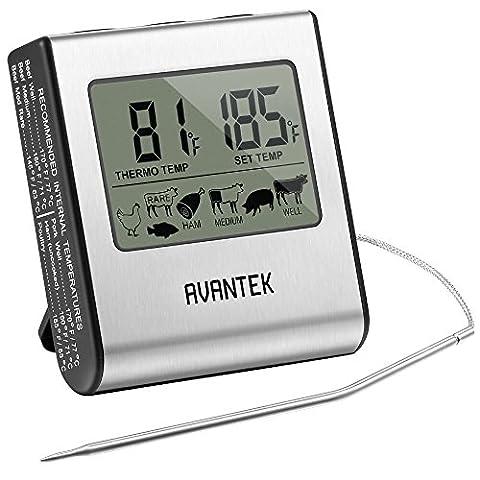 AVANTEK Thermomètre de Cuisine Numérique 0 °C à 300 °C + Minuteur 2 en 1 Multifonctions avec Câble Mesh en Acier Inoxydable Grand Affichage pour Cuisine Cuisson Barbecue Volaille Grill, Maison Pâtisserie Pizzeria, USDA approuvées