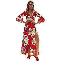 Vestidos Mujer Verano Elegante, Túnica Bohemia Estampado Floral Maxi Vestir Largo Manga Moda Sexy Casual para Fiesta Vacación Cóctel Fiesta Playa Evening Prom Party Ceremonia de la Boda (L, Rojo)