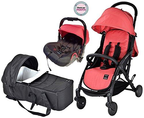 TRIO Trinity 2 Kinderwagen (0-3 Jahre), ultraleicht, 5,5kg, ultrakompakt, Transporttasche, Flugzeug, Cosy Auto gr0+ 0/13 kg, ultraleicht, 2,9 kg, 2 kg, zusammenklappbar, 0/9 kg, Rot