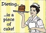 Diät... ist ein Stück Kuchen. Retro, Vintage in Design, sondern mehr Comic, Handgezeichnetes. Funny, Humor, Kellnerin Servieren Kuchen. Schokolade. Metall/Stahl Wandschild, stahl, 9 x 6.5 cm (Magnet)