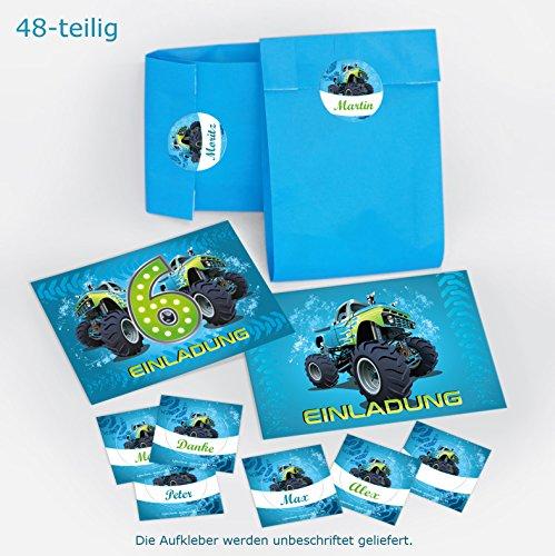 12-er Set Einladungskarten, Umschläge, Tüten/blau, Aufkleber 6. Kindergeburtstag Monstertruck Jungen Geburtstagseinladungen Einladungen Geburtstag Kinder Kartenset Auto (Monster-truck-aufkleber Für Autos)