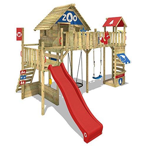 WICKEY Spielturm Smart Ranger Stelzenhaus Spielplatz auf 200cm Podesthöhe mit Holzdach, Rutsche, Turm-Schaukel, Brücke zum Kletterturm, Kletterwand, Aufstiegstreppe und Nestschaukel