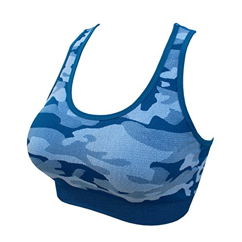 Soutien-gorge de sport pour femmes, Moresave Camouflage sans fil Yoga Running Gym Fitness Exerciseur Sous-vêtements Bleu