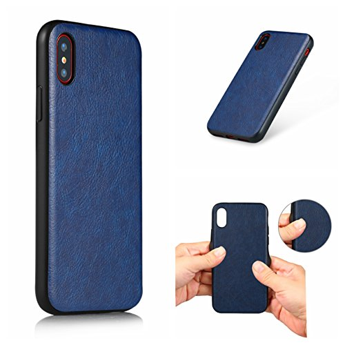 iPhone X Hülle, Voguecase TPU + PC + PU 3 in 1 Silikon Schutzhülle / Case / Cover / Hülle / TPU Gel Skin für Apple iPhone X(Große Augen) + Gratis Universal Eingabestift Blau