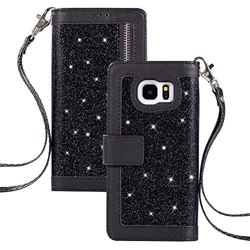 000fd6a849f QC-EMART Funda para Samsung Galaxy S7 Edge Libro Piel PU Case Cover Carcasa  Plegable Cartera Glitter Brillar Ultrafina con Cierre Magnético 9 Titular  de la ...