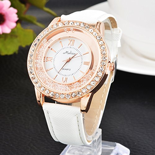 Souarts-White-Artificial-Leather-Quicksand-Rhinestone-Quartz-Wrist-Watch-24cm