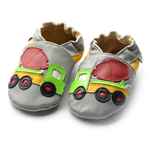 Jinwood designed by amsomo - Jungen - Maedchen - Hausschuhe - ECHT LEDER - Lederpuschen - Krabbelschuhe - soft sole / mini shoes div. Groeßen cement truck grey soft sole