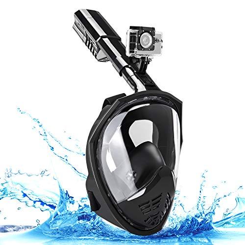 Everwell Anti-Buée et Anti-Fuite Masque de Plongée, Version améliorée 180° Visible Snorkel Masque avec la Support pour Caméra de Sport [Nior][L/XL]
