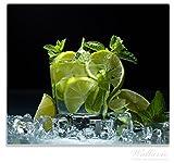 Wallario Herdabdeckplatte/Spritzschutz aus Glas, 1-teilig, 60x52cm, für Ceran- und Induktionsherde, Mojito - Cocktail mit Limetten, EIS und Minze