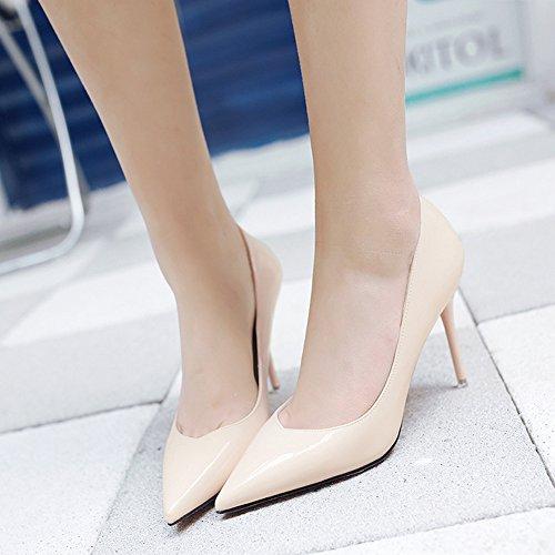 Damen Modische Geschlossen Pumps Hoch Heels Stiletto Anti-Rutsche Slip-On Hochzeitschuhe Aprikose