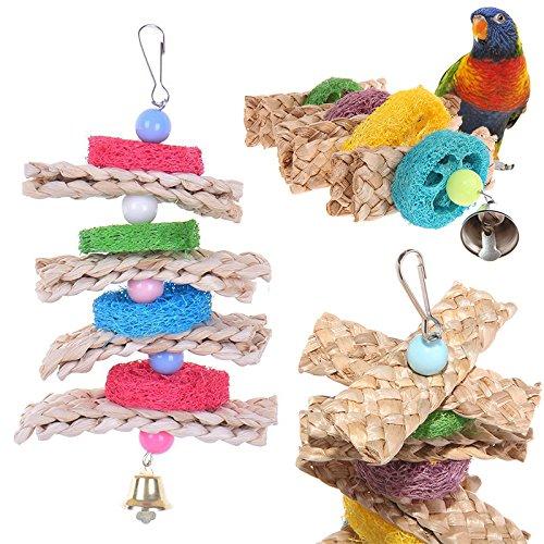 1 Stück Vogel Papagei kauen Spielzeug Holzkugel Glocken Farbe Zufällig (Vogel Glocke)