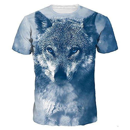 BURFLY Druck T-Shirt 3D Männer und Frauen Paar Modelle Große Größe Digitaldruck O-Neck Kurzarm-Shirt Bluse (L, Blau)