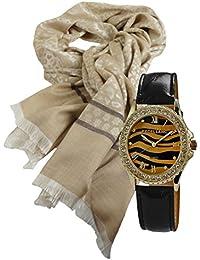 Coffret cadeau élégant, montre pour femme avec dame écharpe, foulard au  look ... 4ac115aae6d