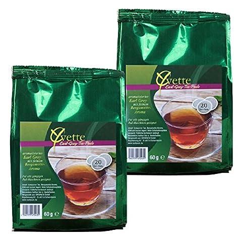 Yvette Earl Grey Teepads, Teebeutel, Schwarzer Tee, auch für Senseo, 2 x 20 Pads