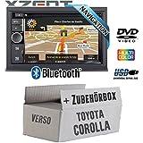 Toyota Corolla Verso schwarz - Autoradio Radio Xzent X-302BT-MK2   2-Din Navigation Bluetooth USB CD DVD Touchscreen TFT Navi Europa 47 Länder HDMI Einbauzubehör - Einbauset