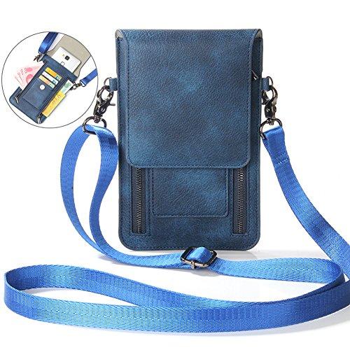 Junge-Damen Handtasche Schultertasche Damen Leder-tasche kleine Umhängetasche, Schultertasche, Cross Body Bag Travel Organizer mit Handyfach Handgelenktasche handtasche mit vielen Kartenfächern Blau
