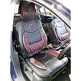 Fundas de asiento de coche de Fiat 500SC 1punto de brillantes, color rojo acolchado Apoyo Lumbar fundas (1par)